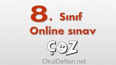 8. Sınıf online yazılı sınav